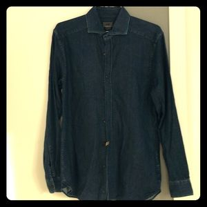 H&M dark blue jean shirt